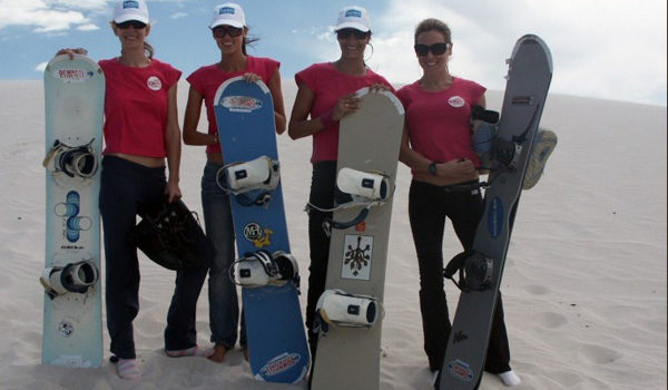 Girls with sandboards