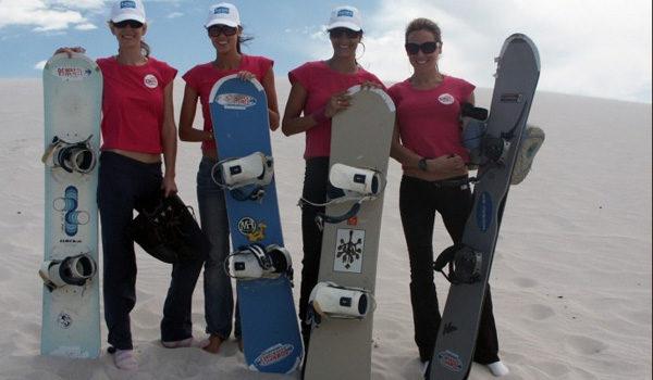 Girls with sandboards