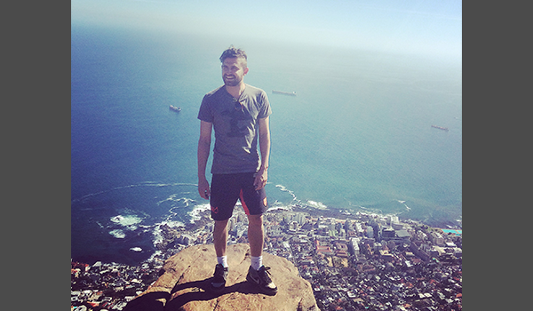 Standing on the mountain overlooking the sea