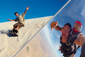 sandboarding and skydiving