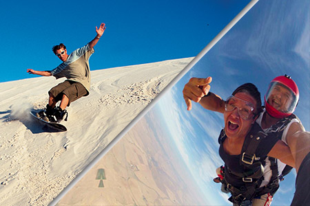 sandboarding and skydiving