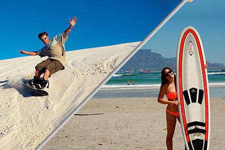 sandboarding and surfing