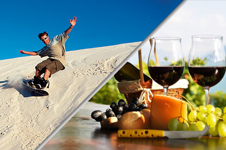 sandboarding and winetasting