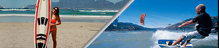 surfing and kitesurfing