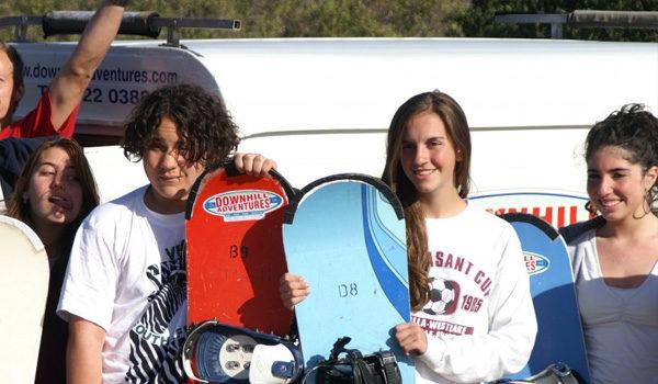 kids with sandboards